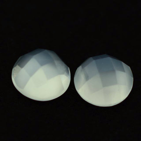 Moonstone round checkerboard cabochon (white) - 7 mm