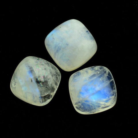 Rainbow moonstone cushion cabochon 12mm loose gemstone