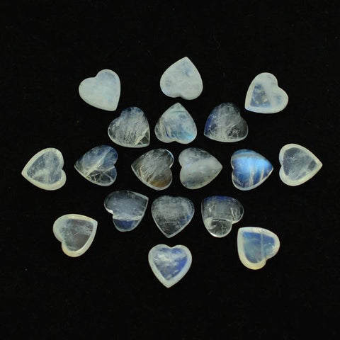 Natural rainbow moonstone heart cut cabochon 10mm gem