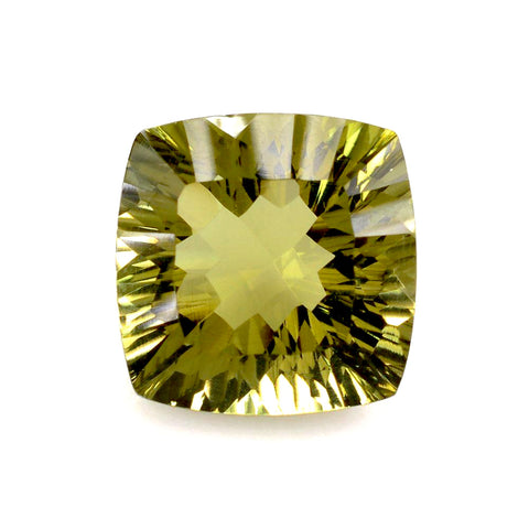 lemon quartz cushion concave cut 14mm gemstone