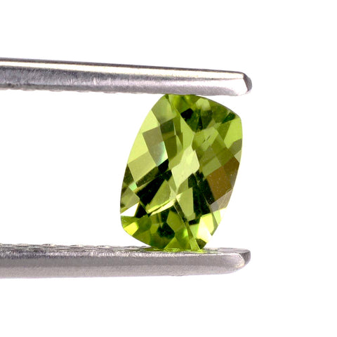 Peridot cushion checkerboard cut 7x5mm natural gemstone