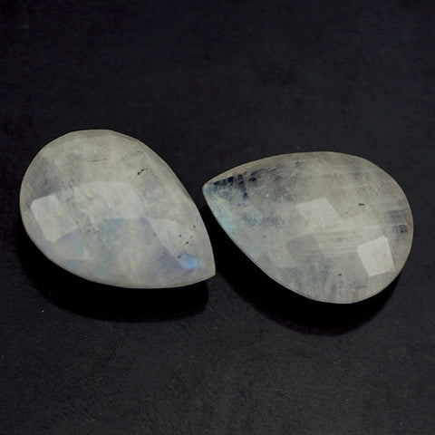 Natural rainbow moonstone pear cut briolette jewels