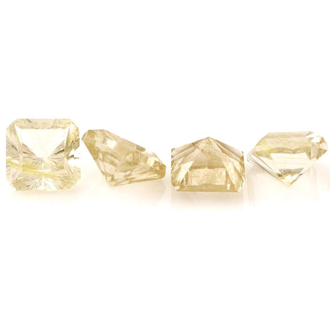 Golden rutile quartz asscher square cut 14mm gemstone