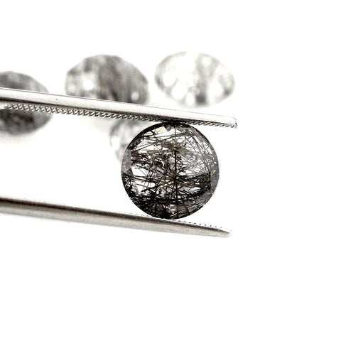 Black rutile quartz round cut cabochon 10mm loose gemstones