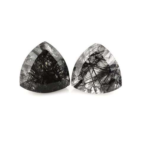 Natural black rutile quartz trillion concave cut 14mm gem