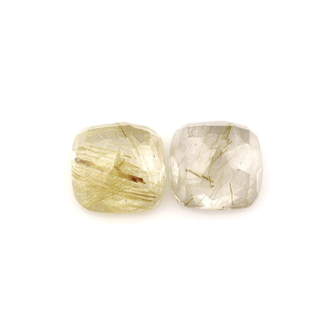 Golden rutile quartz cushion cut cabochon 10mm gemstone
