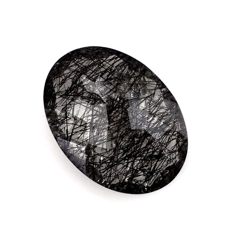 Black rutile quartz oval rose cut cabochon gemstone
