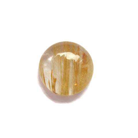 Natural golden rutile quartz round cut cabochon 12mm gemstone