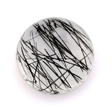 Natural black rutile quartz round cut cabochon 12mm loose stone