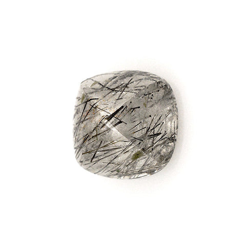 black rutile quartz cushion pyramid cut cabochon 8mm gemstone