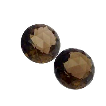Natural smokey quartz round checkerboard cabochon 10mm