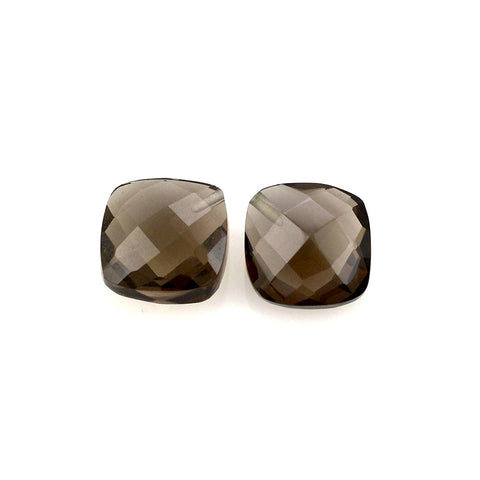Smoky quartz briolette cushion checkerboard cut 10mm