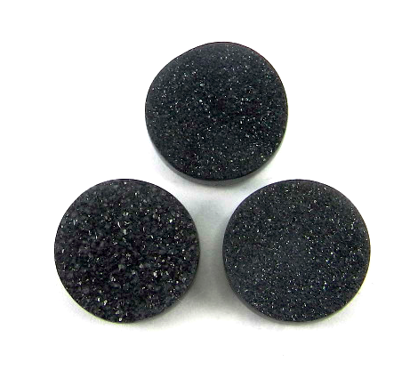drusy round cut 6mm black loose gemstone