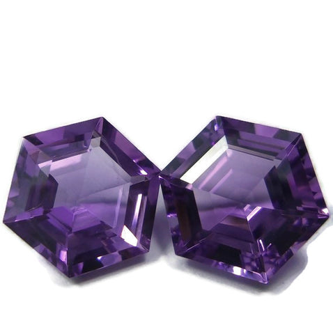 amethyst purple hexagon step-cut 8mm loose gemstone