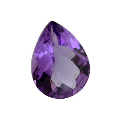 Natural amethyst pear checkerboard cut 16x12mm gemstone from Brazil