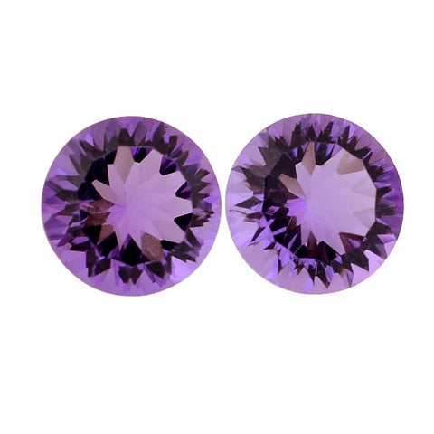 natural amethyst round concave cut 8mm gemstone