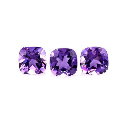 amethyst cushion cut 5mm genuine extra-quality gemstone