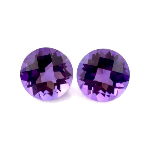 natural amethyst round checkerboard cut 7mm loose gemstone
