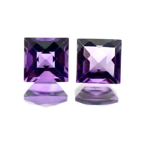 amethyst square checkerboard cut 4.5mm natural gemstone