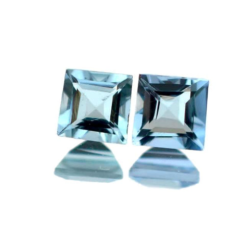 natural aquamarine square cut 3.5mm extra-quality gemstone