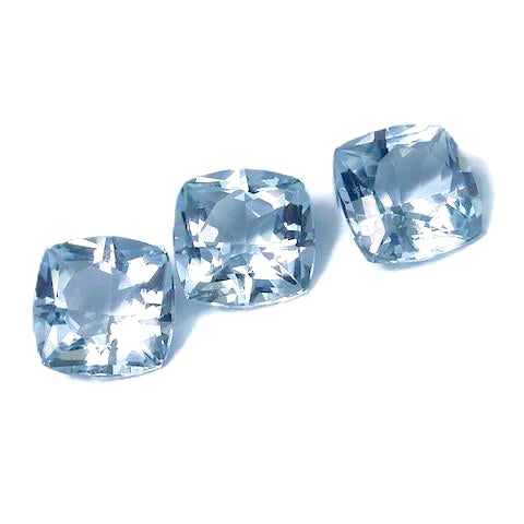 aquamarine blue cushion 9.5mm gemstone from Brazil.