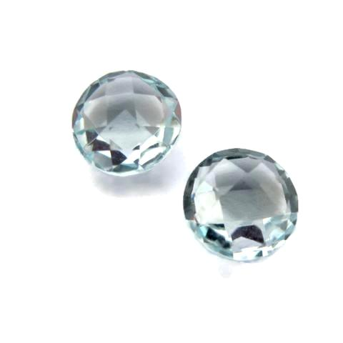 aquamarine blue round briolette cut 8mm gemstone