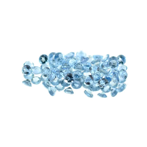 natural aquamarine round brilliant cut 1.5mm gemstone from Brazil