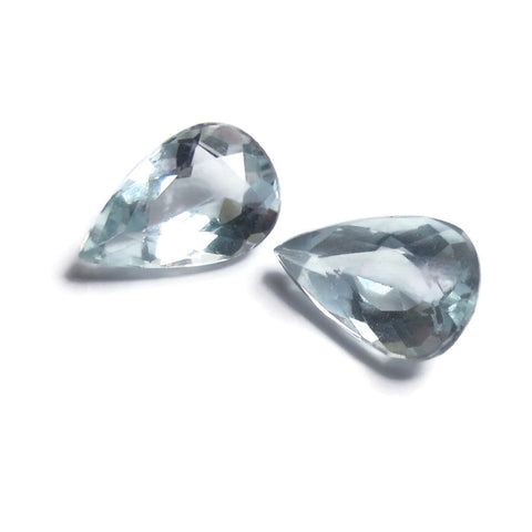 Natural aquamarine pear cut 8x5mm grade B pair gemstones