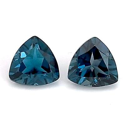 natural london blue topaz trillion cut 9mm gemstone