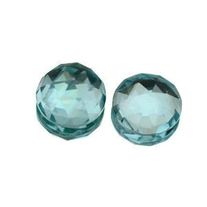Natural sky blue topaz round cut checkerboard cabochon