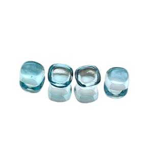 natural sky blue topaz cushion cut cabochon gemstone 7mm