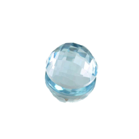Natural sky blue topaz 12mm round checkerboard cabochon gemstone