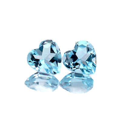 natural swiss blue topaz heart cut 5mm gemstone