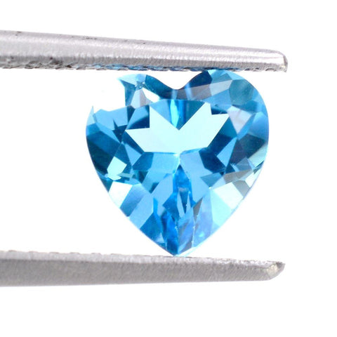 Swiss blue topaz heart cut 8mm loose gemstone