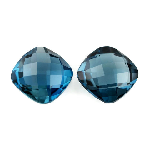 natural london blue topaz cushion briolette checkerboard 8mm gemstone