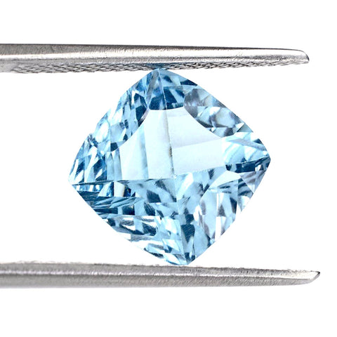 natural sky blue topaz concave cushion cut 10mm gemstone