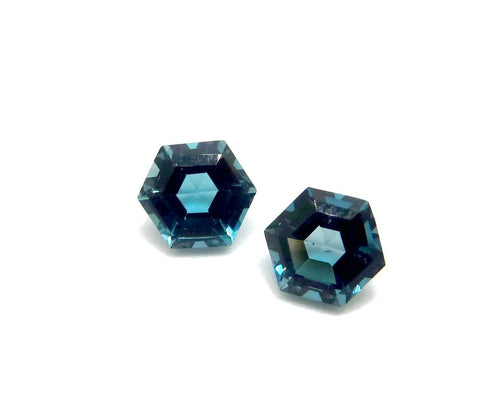 london blue topaz hexagon step-cut 9mm natural gemstone