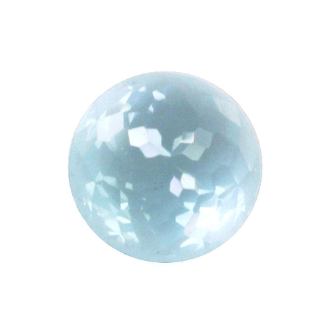 Natural sky blue topaz round flower-cut cabochon 5mm gemstone