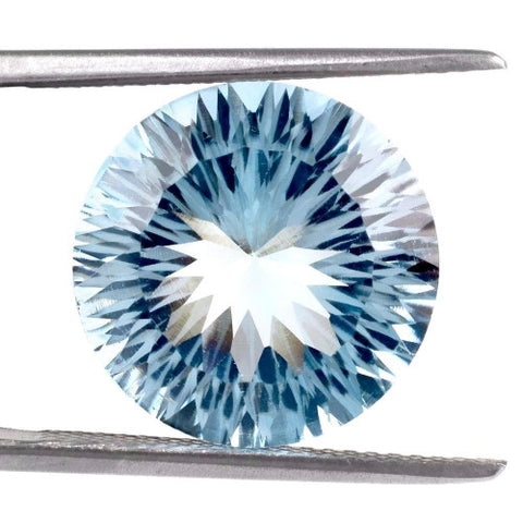 Sky blue topaz round concave cut 12mm loose gemstone