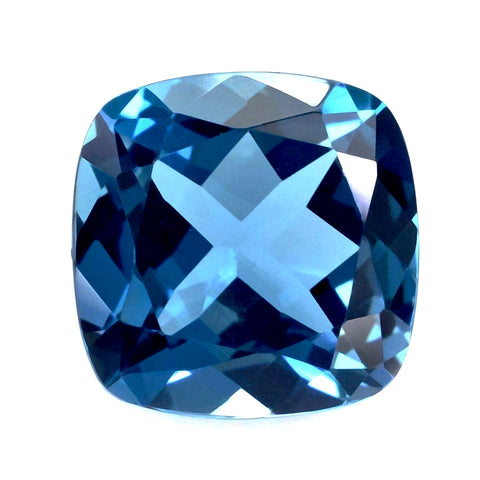 Topaz For A Ring Or Pendent 4.30 Carat  9x9x6MM Loose Gemstone Deep Blue Stone Natural London Blue Topaz Asscher Cut Square Shape