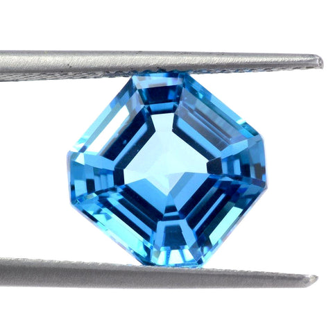 Swiss blue topaz asscher cut 8mm natural gemstone