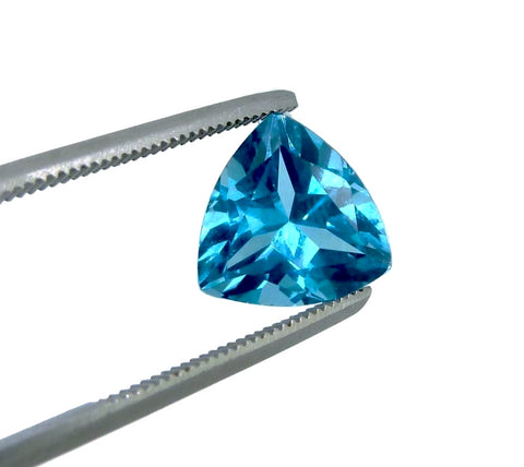 Swiss blue topaz trillion cut 10mm genuine jewel