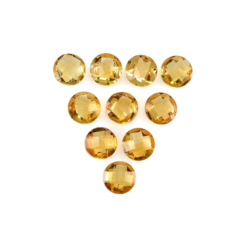Citrine round checker cut - 5 mm