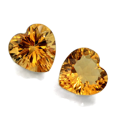 citrine heart concave cut 12mm loose gemstone
