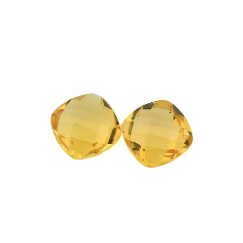 Natural citrine cushion checkerboard cut cabochon 6mm gemstone