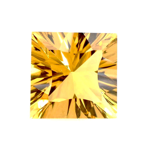 citrine golden square princess concave cut 10mm gemstone