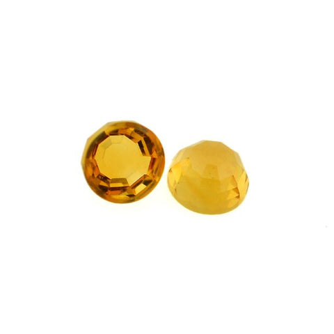 citrine round flower-cut cabochon 6mm gemstone