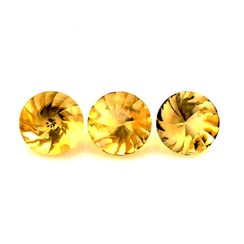 natural citrine round buff-top whirl cut 12mm gemstone