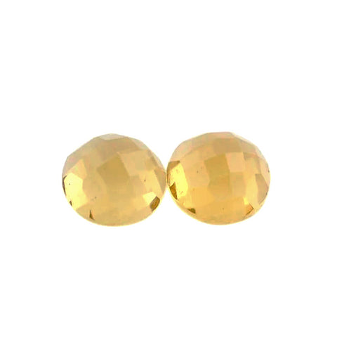 Citrine round flower-cut cabochon - 04mm