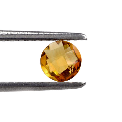 Natural citrine round checkerboard cut 8mm gemstone
